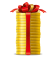 stack of coins with a red bow concept of pecuniary vector image vector image