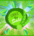 summer big sale round emblem with palm leaves vector image vector image