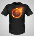 t shirts Black Fire Print man 20 vector image vector image