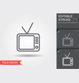 television receiver line icon with shadow and vector image vector image