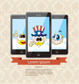 three touchscreen mobile phone devices vector image