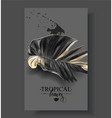 tropic banana leaf black and gold banners vector image vector image