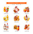 unhealthy foods for brain sugary soda and food vector image vector image