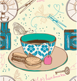 Vintage tea time background seamless pattern vector image vector image