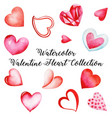 watercolor valentine heart collection vector image vector image