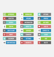 web buttons set in flat vector image