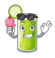 with ice cream cucumber juice in a cartoon glass vector image
