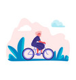 woman riding bicycles in park female holiday trip vector image