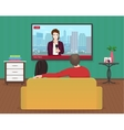 Young family man and women watching TV daily news vector image vector image