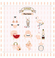 pink fashion trends summer and beach fun icons vector image