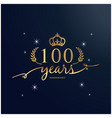 100 years anniversary luxurious logotype backgroun vector image
