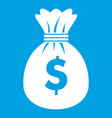 bag with dollars icon white vector image vector image
