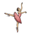ballet dancer woman engraving vector image