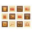 business office and mobile phone icons over brown vector image vector image