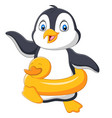 cartoon penguin with inflatable ring vector image vector image