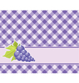 Checkered purple background with grapes vector image vector image
