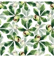 Chestnut leaf and walnut watercolor seamless vector image vector image