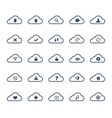 clouds computing icon set vector image vector image