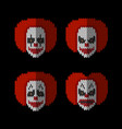 clown knitted flat icons set different emotion vector image