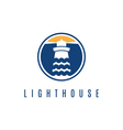 Concept logo template with lighthouse in flat vector image vector image