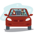 couple riding car in winter vector image