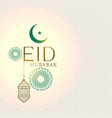 elegant eid mubarak greeting with hanging lantern vector image