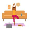 female cartoon character practicing hatha yoga vector image vector image