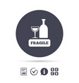 Fragile parcel icon package delivery symbol