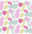 fruits doodles cute seamless pattern vector image vector image