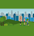 group of athletes practicing sports on the park vector image