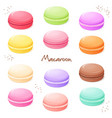 hand drawn set of coloured sweet macaroon vector image vector image