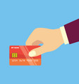 hands holding credit card for business concept vector image