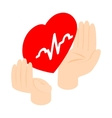 Heart in hands icon isometric 3d style vector image