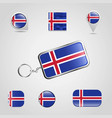 iceland country flag on keychain and map pin vector image vector image