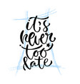 its never too late hand lettering modern vector image vector image