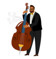 jazz man contrabassist cartoon character vector image vector image