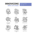 life stages a man - line design style icons set vector image