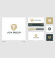 lion shield animal logo design and business card vector image vector image