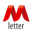 logo red ribbon in the shape of the letter M vector image vector image