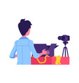 man gadgets reviewer blogger with device vector image