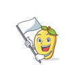 mango character cartoon mascot with flag vector image vector image