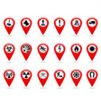 map pointers set of safety symbols location and vector image vector image