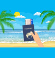 passport and airplane ticket in hand vector image vector image