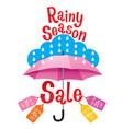 rainy season sale banner decorate with umbrella vector image