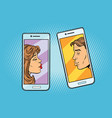 retro boy and girl want to kiss via a smartphone vector image vector image