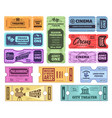 retro tickets circus cinema and theatre admit vector image