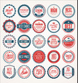 Retro vintage badge and label blue and red vector image