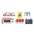 set icons railway station building customer vector image vector image