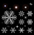 set of snowflakes and luminous outbreaks vector image