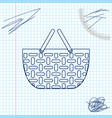 shopping basket line sketch icon isolated on white vector image vector image